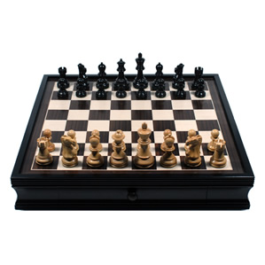 "CHESS SET WOOD 19"" WITH DRAWER"