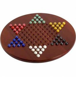 "CHINESE CHECKERS 15"" WOOD WITH"