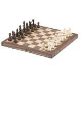 "CHESS SET WALNUT 12"" FOLDING BOOK STYLE"