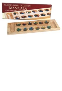 MANCALA WOOD WITH COLOURED GLASS
