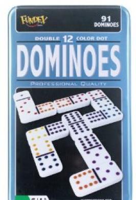 DOMINOES DOUBLE 12 TIN COLOUR DOT