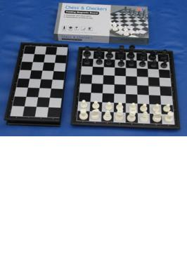 "MAGNETIC FOLDING CHESS SET 12"" BLACK & WHITE"