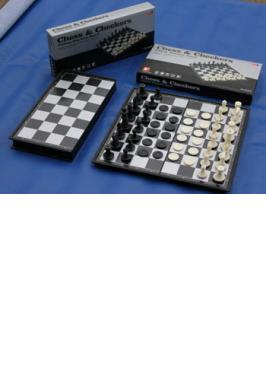 "CHESS SET 14"" MAG. FOLDING BLACK & WHITE"