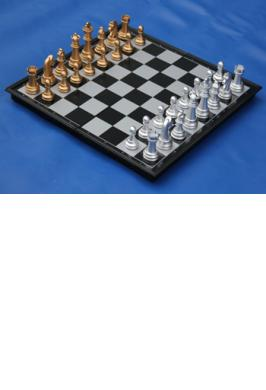 "CHESS SET MAG. FOLDING 14"" GOLD-SILVER"
