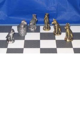 Dog Chess Set Metal
