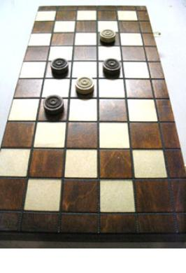 CHECKERS 10 X 10 WOODEN POLISH